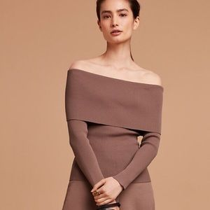 Wilfred sweater blouse taupe off shoulder top